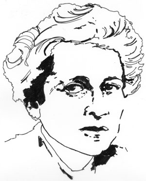 Hannah Arendt, drawing by Jon Brunberg